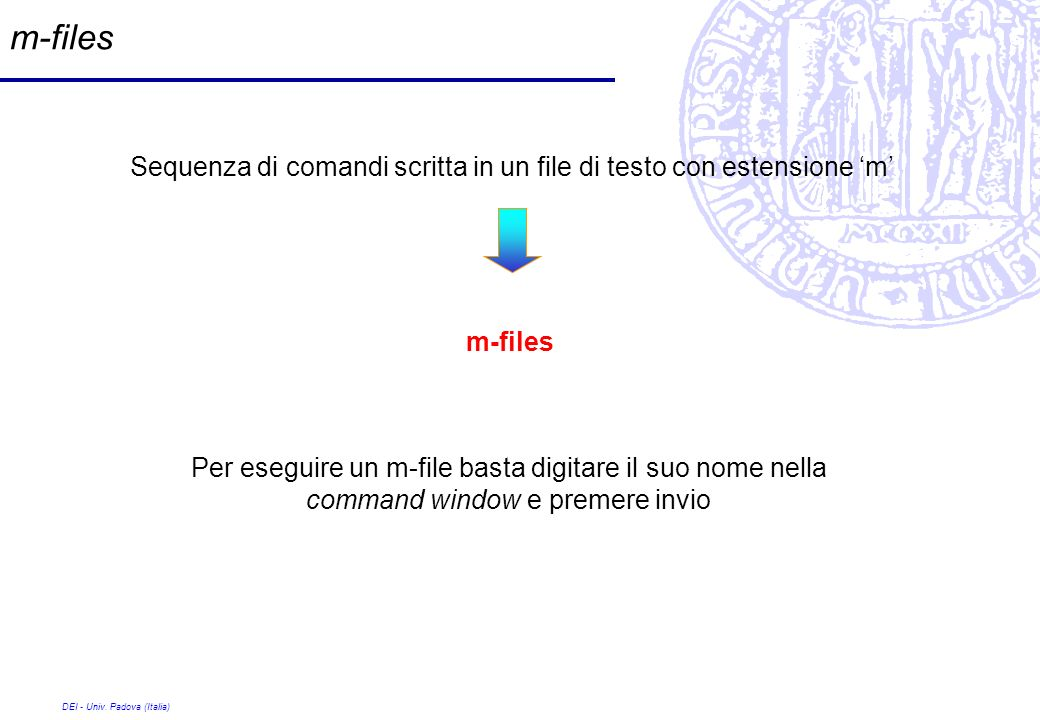 m-files Sequenza di comandi scritta in un file di testo con estensione 'm' m-files.
