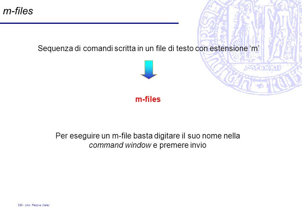 m-filesSequenza di comandi scritta in un file di testo con estensione 'm' m-files.