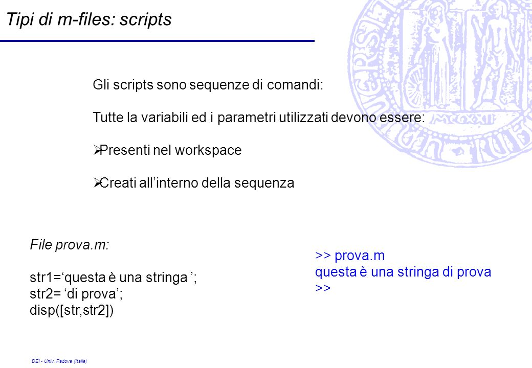 Tipi di m-files: scripts