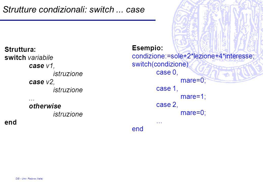 Strutture condizionali: switch ... case