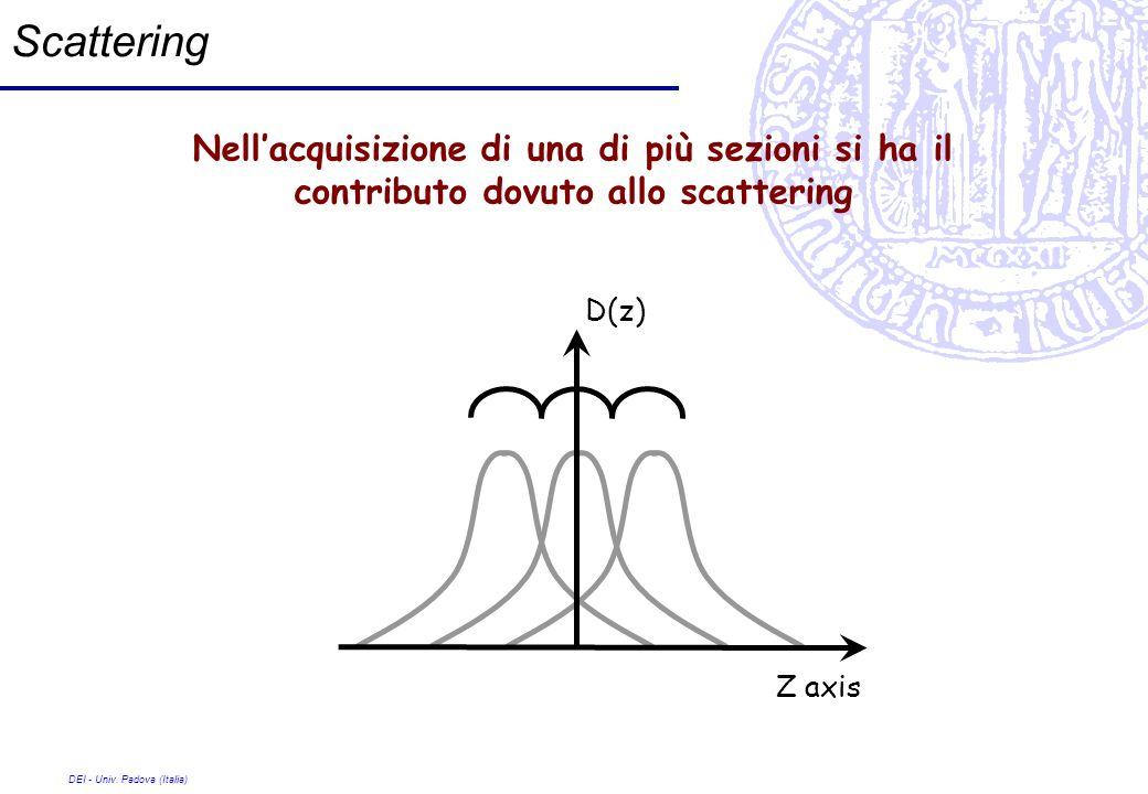 Scattering Nell'acquisizione di una di più sezioni si ha il contributo dovuto allo scattering. D(z)