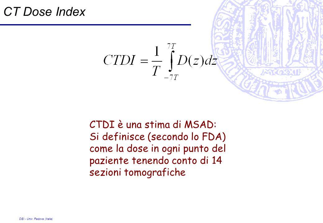 CT Dose Index CTDI è una stima di MSAD:
