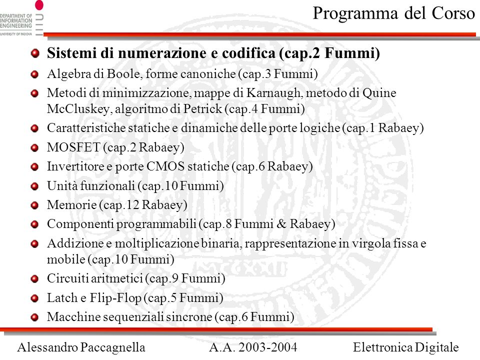 Programma del Corso Sistemi di numerazione e codifica (cap.2 Fummi)