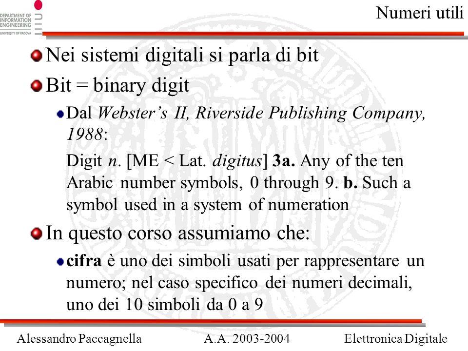 Nei sistemi digitali si parla di bit Bit = binary digit