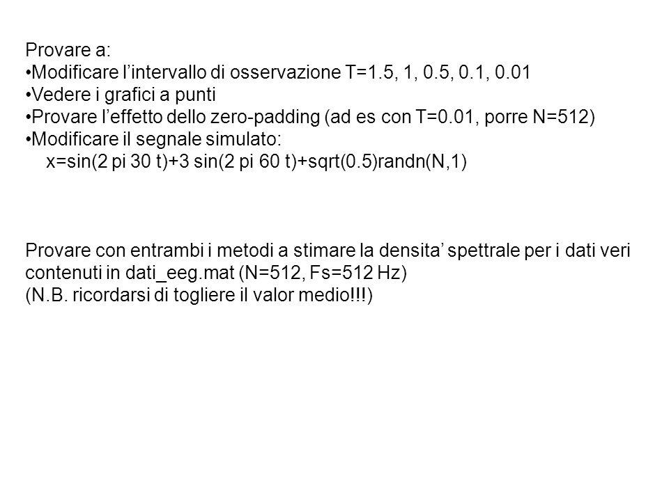 Provare a: Modificare l'intervallo di osservazione T=1.5, 1, 0.5, 0.1, 0.01. Vedere i grafici a punti.