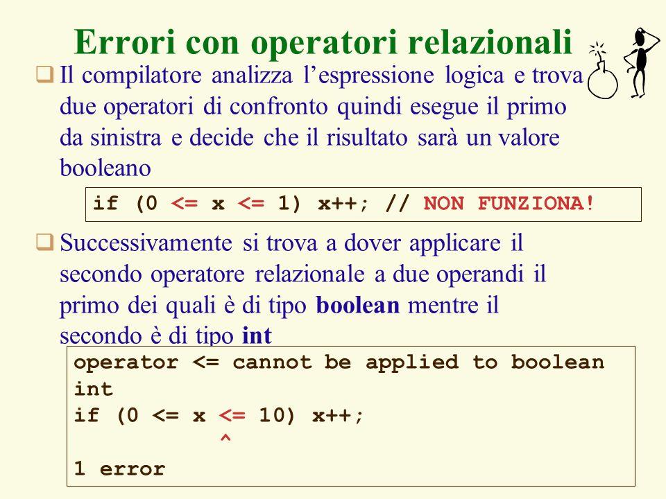 Errori con operatori relazionali