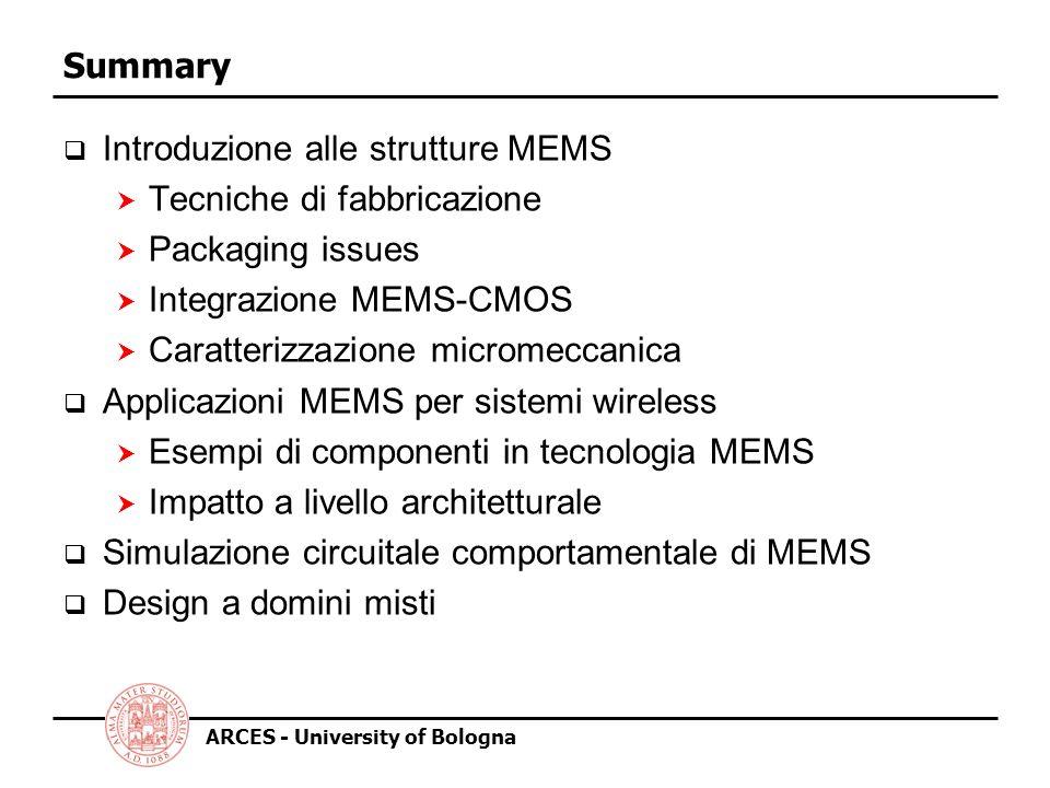 Summary Introduzione alle strutture MEMS. Tecniche di fabbricazione. Packaging issues. Integrazione MEMS-CMOS.