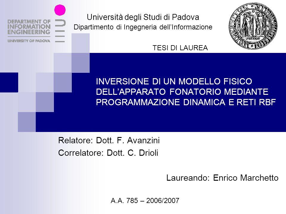 Relatore: Dott. F. Avanzini Correlatore: Dott. C. Drioli