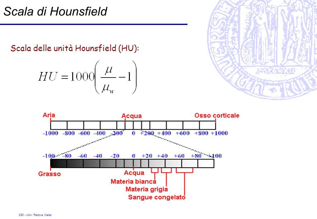 Scala di Hounsfield Scala delle unità Hounsfield (HU):