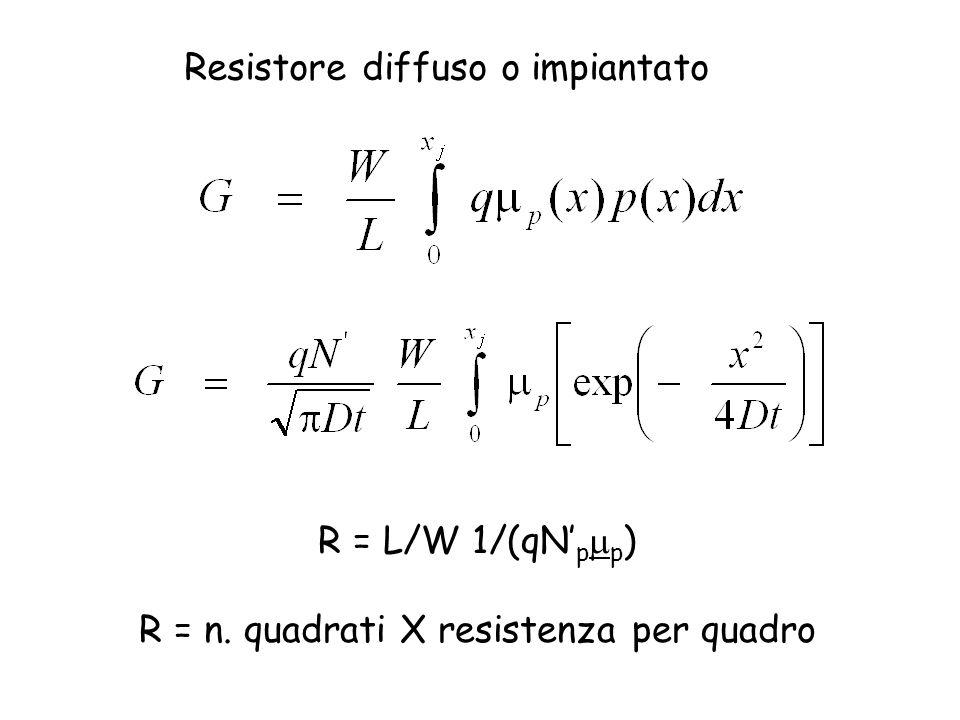 R = n. quadrati X resistenza per quadro