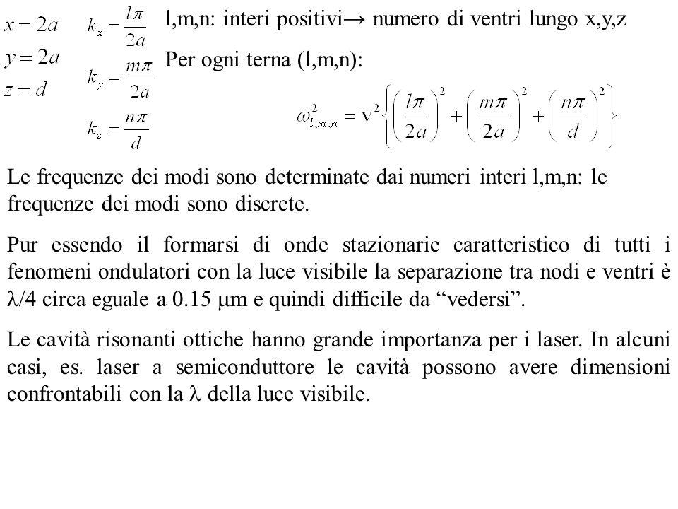 l,m,n: interi positivi→ numero di ventri lungo x,y,z