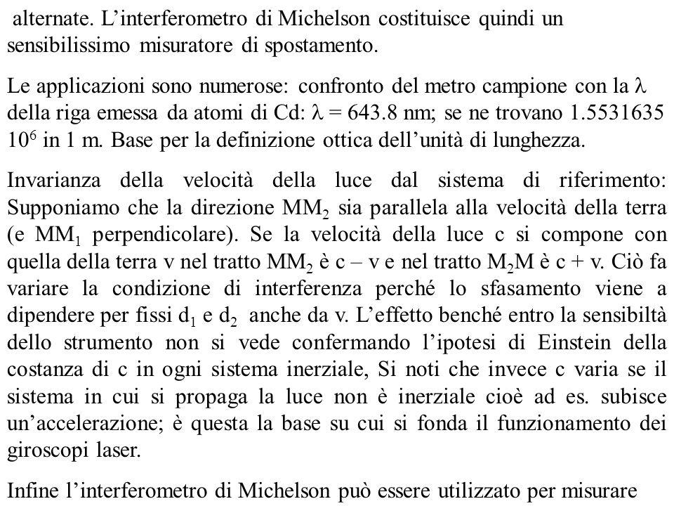 alternate. L'interferometro di Michelson costituisce quindi un sensibilissimo misuratore di spostamento.