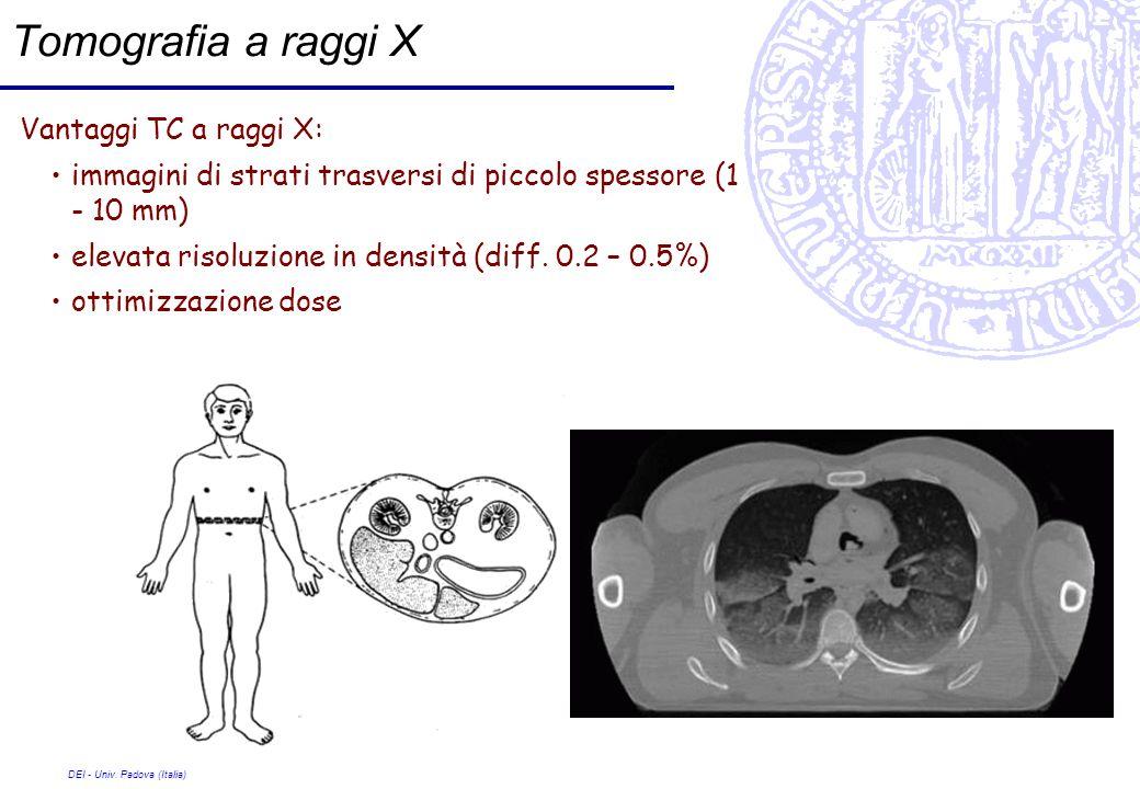 Tomografia a raggi X Vantaggi TC a raggi X: