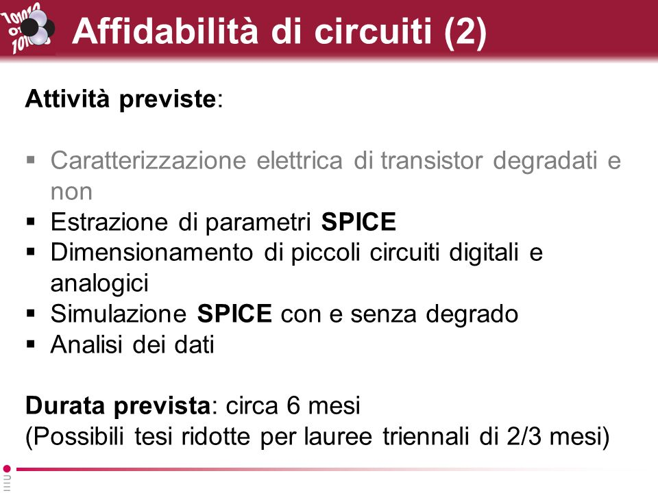 Affidabilità di circuiti (2)