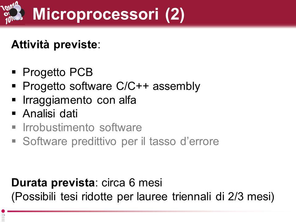 Microprocessori (2) Attività previste: Progetto PCB