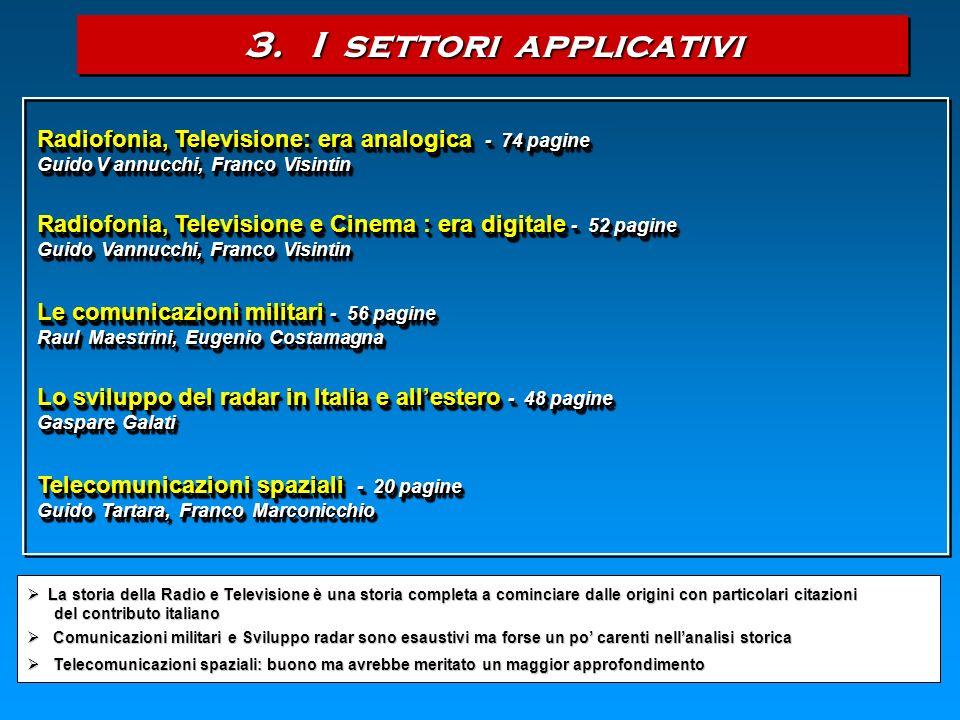 3. I settori applicativi Radiofonia, Televisione: era analogica - 74 pagine. Guido V annucchi, Franco Visintin.