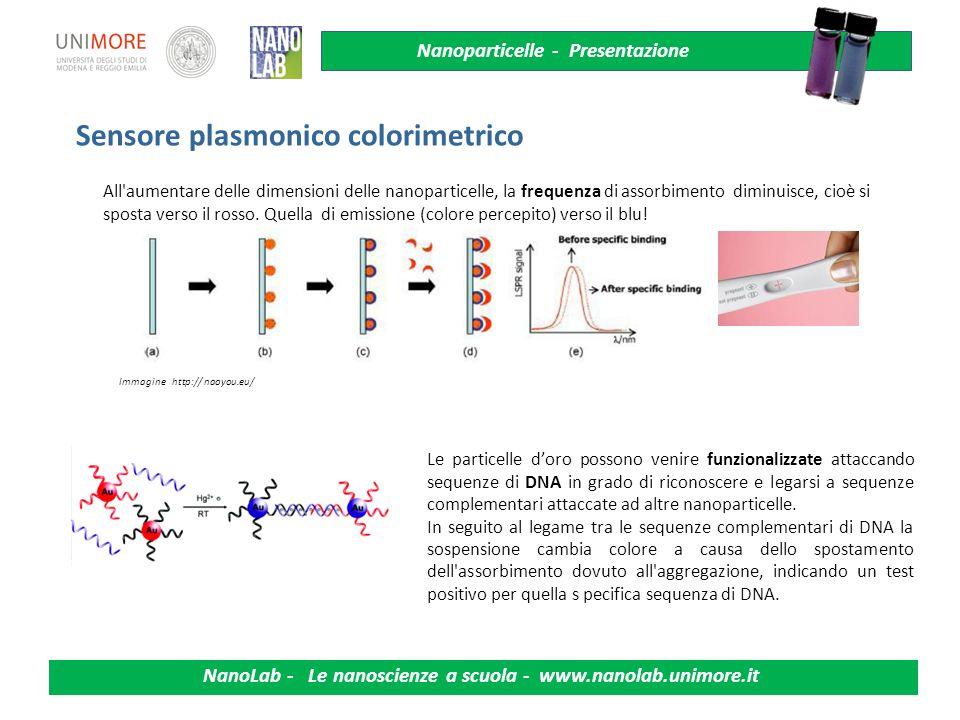 Sensore plasmonico colorimetrico