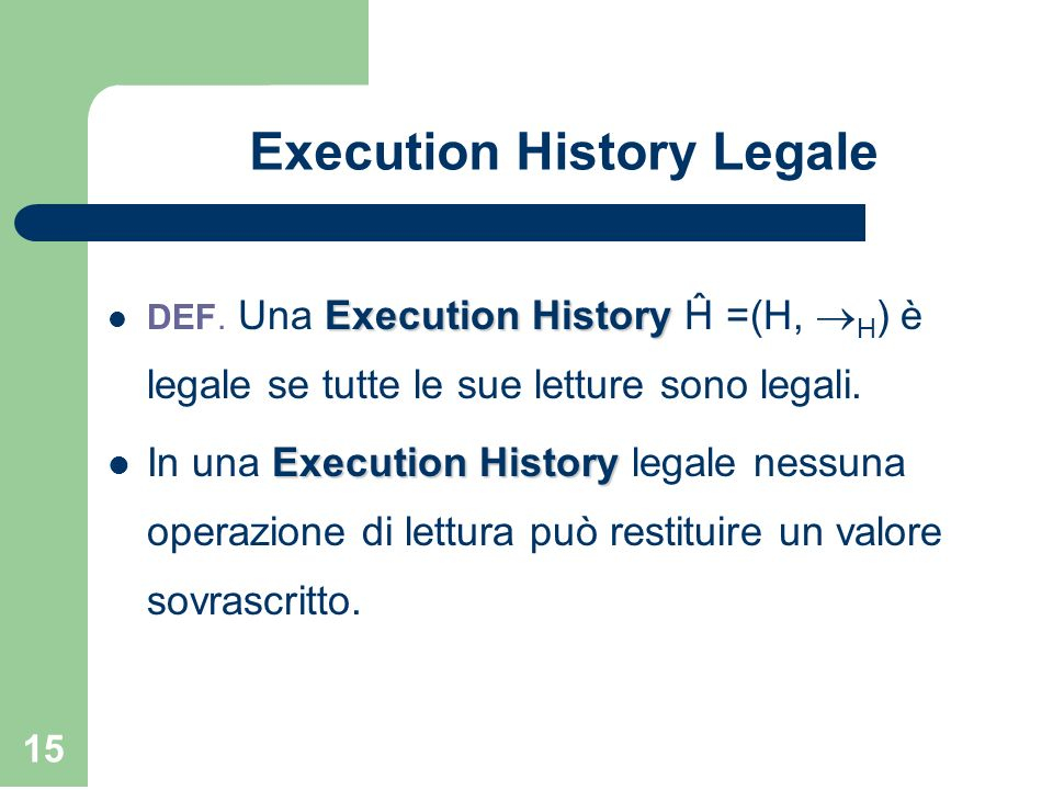 Execution History Legale