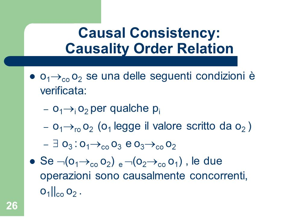 Causal Consistency: Causality Order Relation
