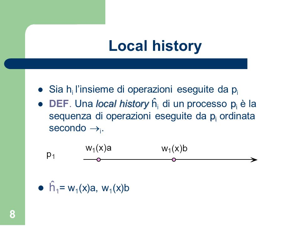 Local history ĥ1= w1(x)a, w1(x)b