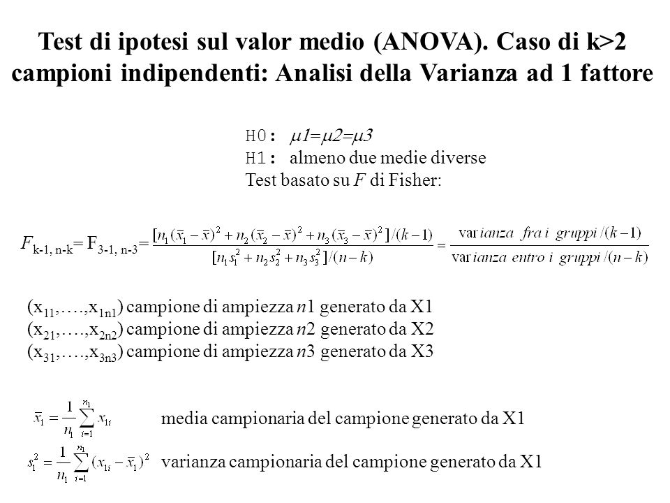 H0: m1=m2=m3. H1: almeno due medie diverse. Test basato su F di Fisher: (x11,….,x1n1) campione di ampiezza n1 generato da X1.