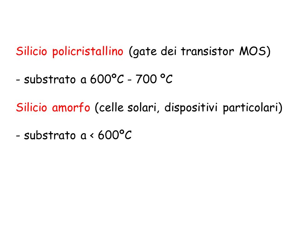 Silicio policristallino (gate dei transistor MOS)