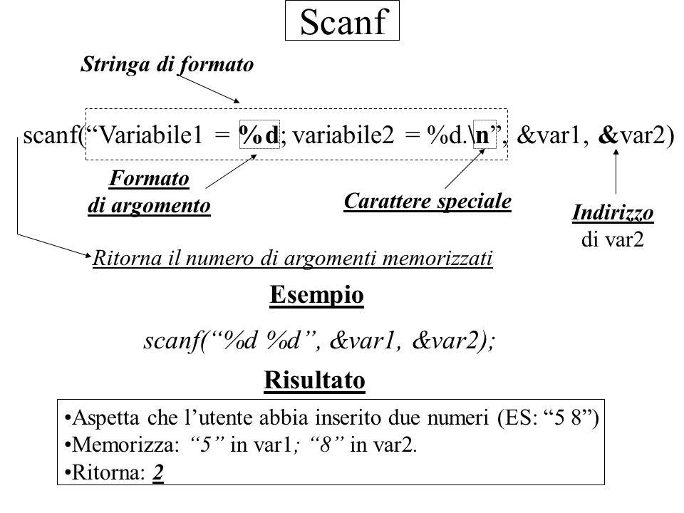 Scanf scanf( Variabile1 = %d; variabile2 = %d.\n , &var1, &var2)