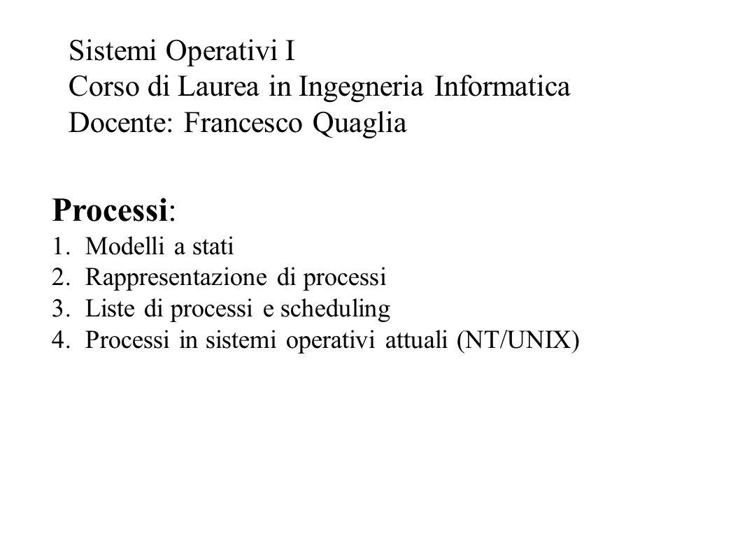 Processi: Sistemi Operativi I