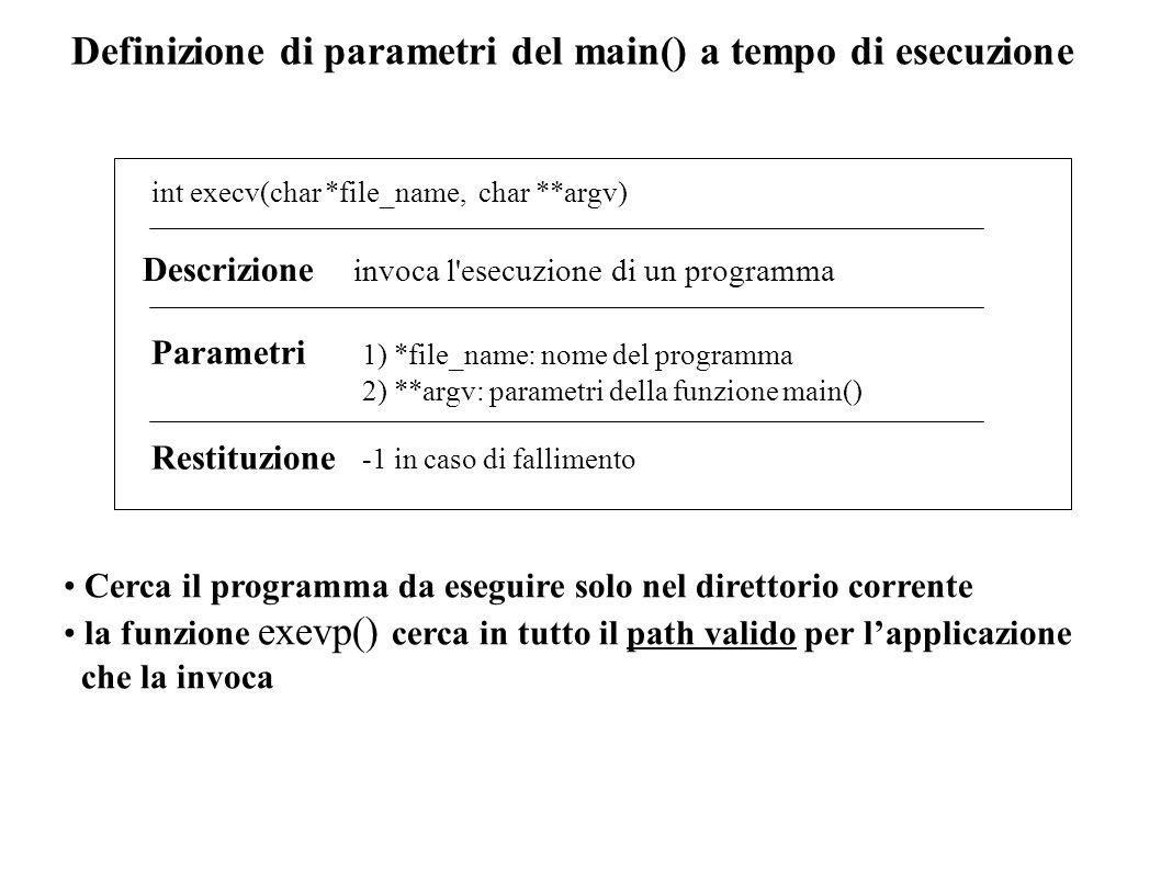 Definizione di parametri del main() a tempo di esecuzione