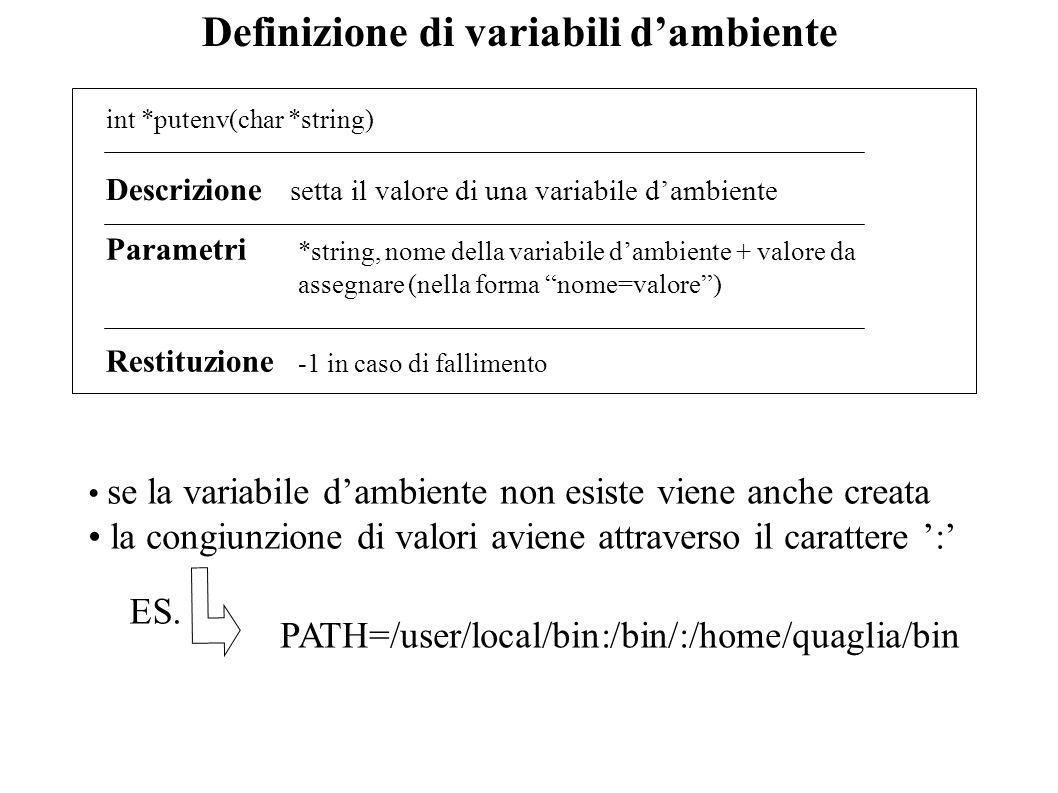 Definizione di variabili d'ambiente