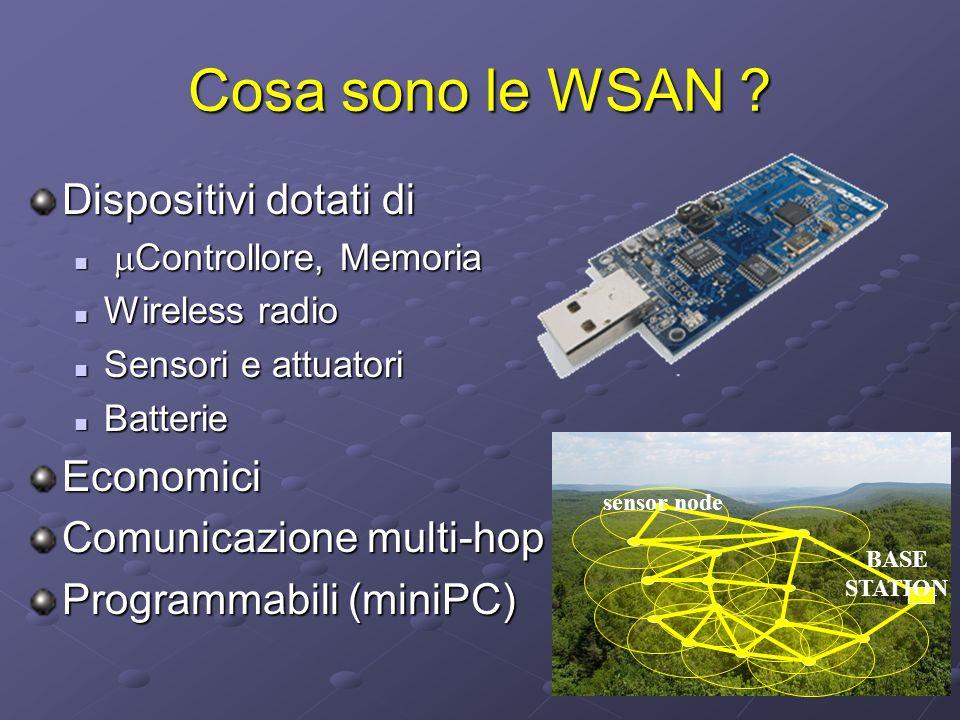 Cosa sono le WSAN Dispositivi dotati di Economici