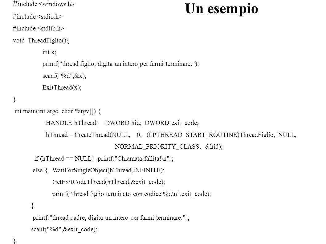 Un esempio #include <windows.h> #include <stdio.h>