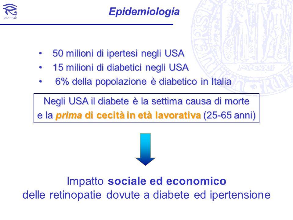 Epidemiologia 50 milioni di ipertesi negli USA. 15 milioni di diabetici negli USA. 6% della popolazione è diabetico in Italia.