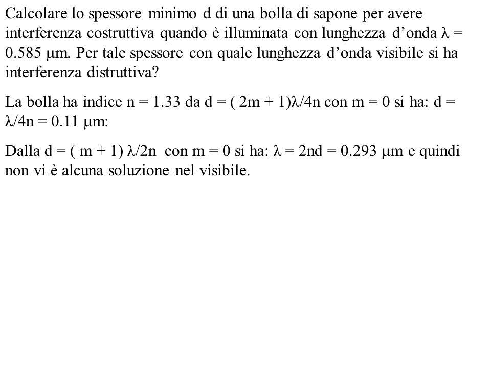 Calcolare lo spessore minimo d di una bolla di sapone per avere interferenza costruttiva quando è illuminata con lunghezza d'onda λ = 0.585 m. Per tale spessore con quale lunghezza d'onda visibile si ha interferenza distruttiva