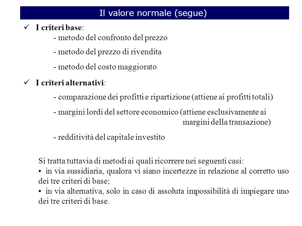 Il valore normale (segue)