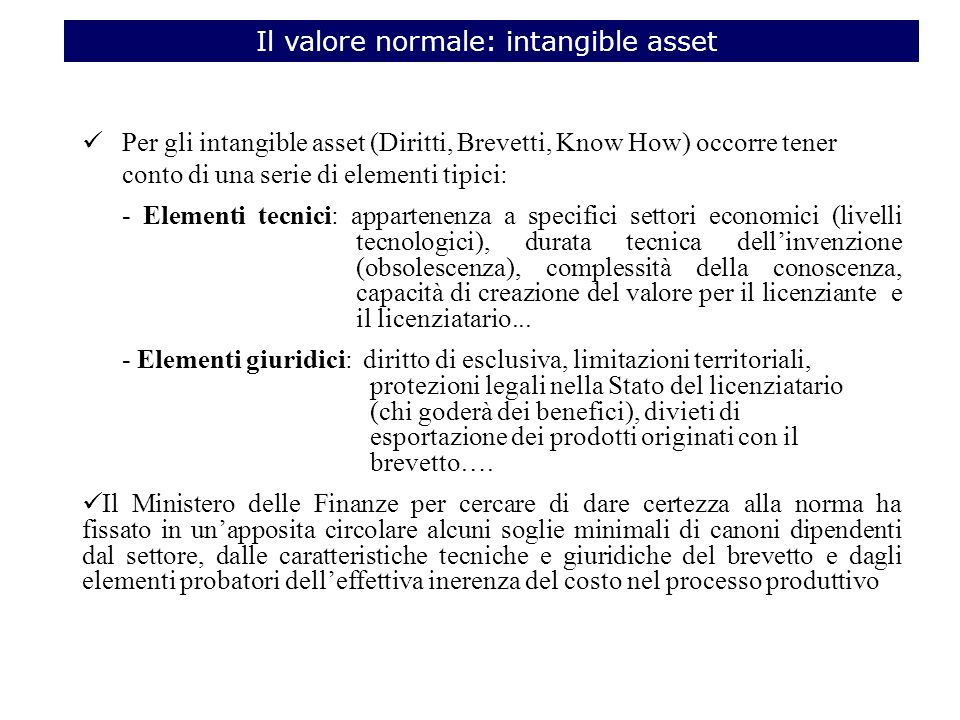 Il valore normale: intangible asset