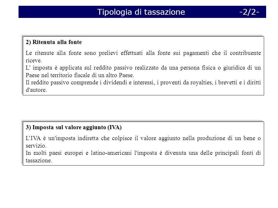 Tipologia di tassazione -2/2-