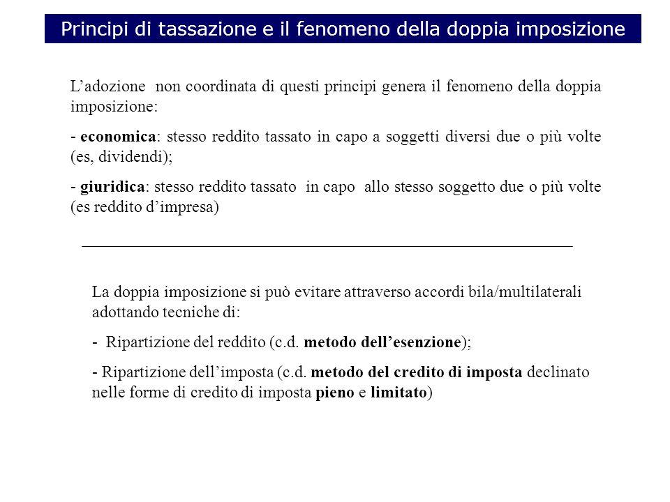 Principi di tassazione e il fenomeno della doppia imposizione