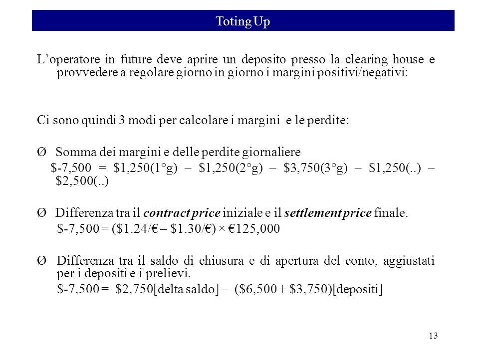 Ci sono quindi 3 modi per calcolare i margini e le perdite: