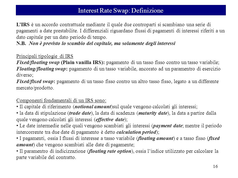 Interest Rate Swap: Definizione