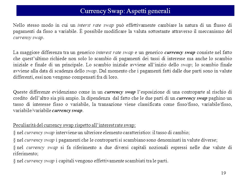Currency Swap: Aspetti generali