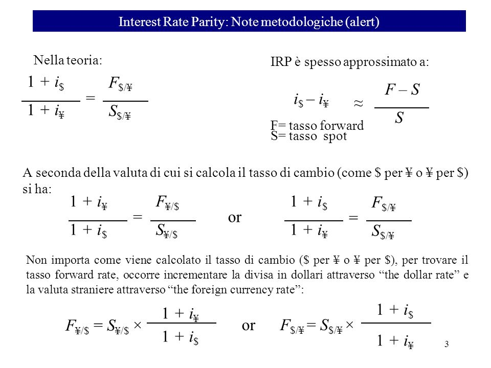 Interest Rate Parity: Note metodologiche (alert)