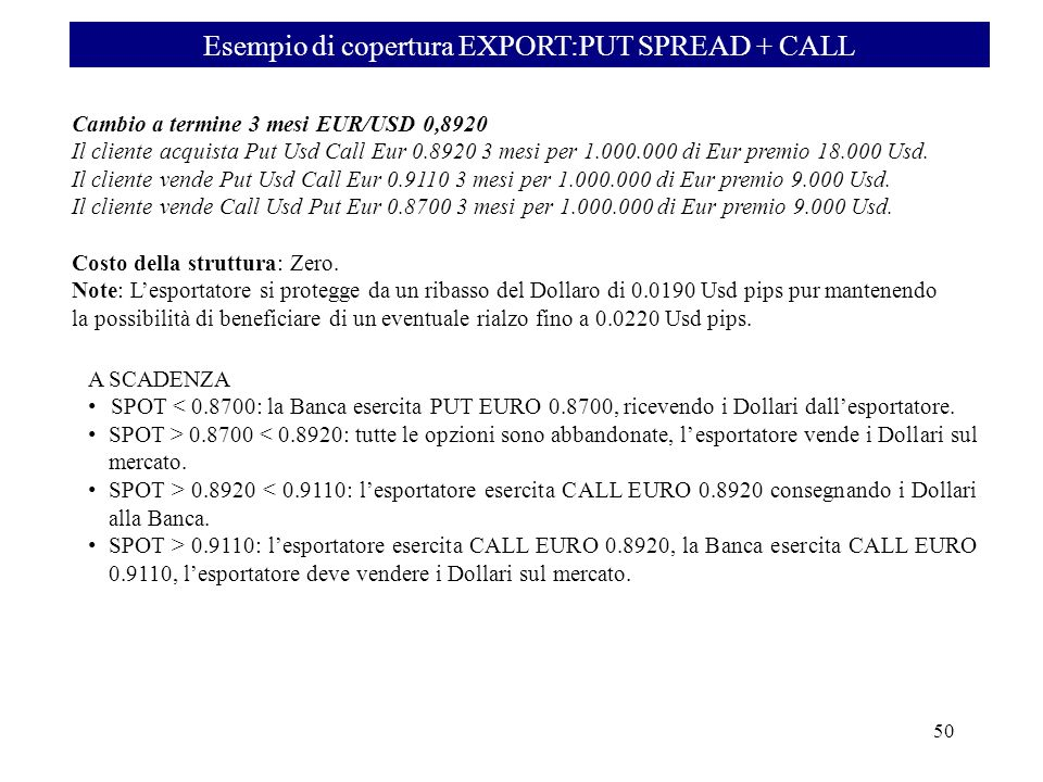 Esempio di copertura EXPORT:PUT SPREAD + CALL