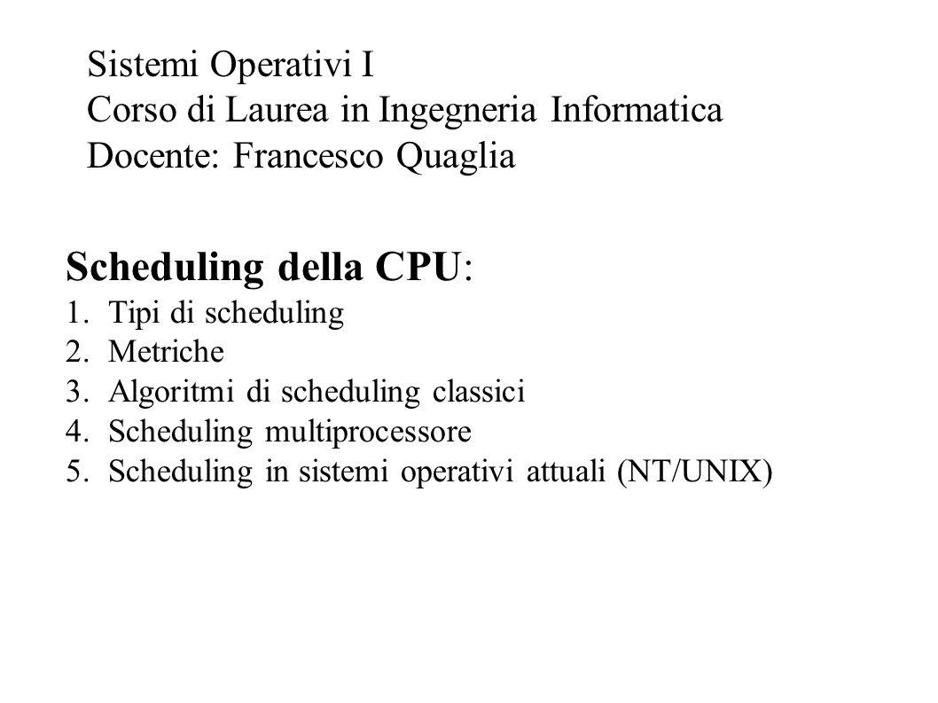 Scheduling della CPU: Sistemi Operativi I