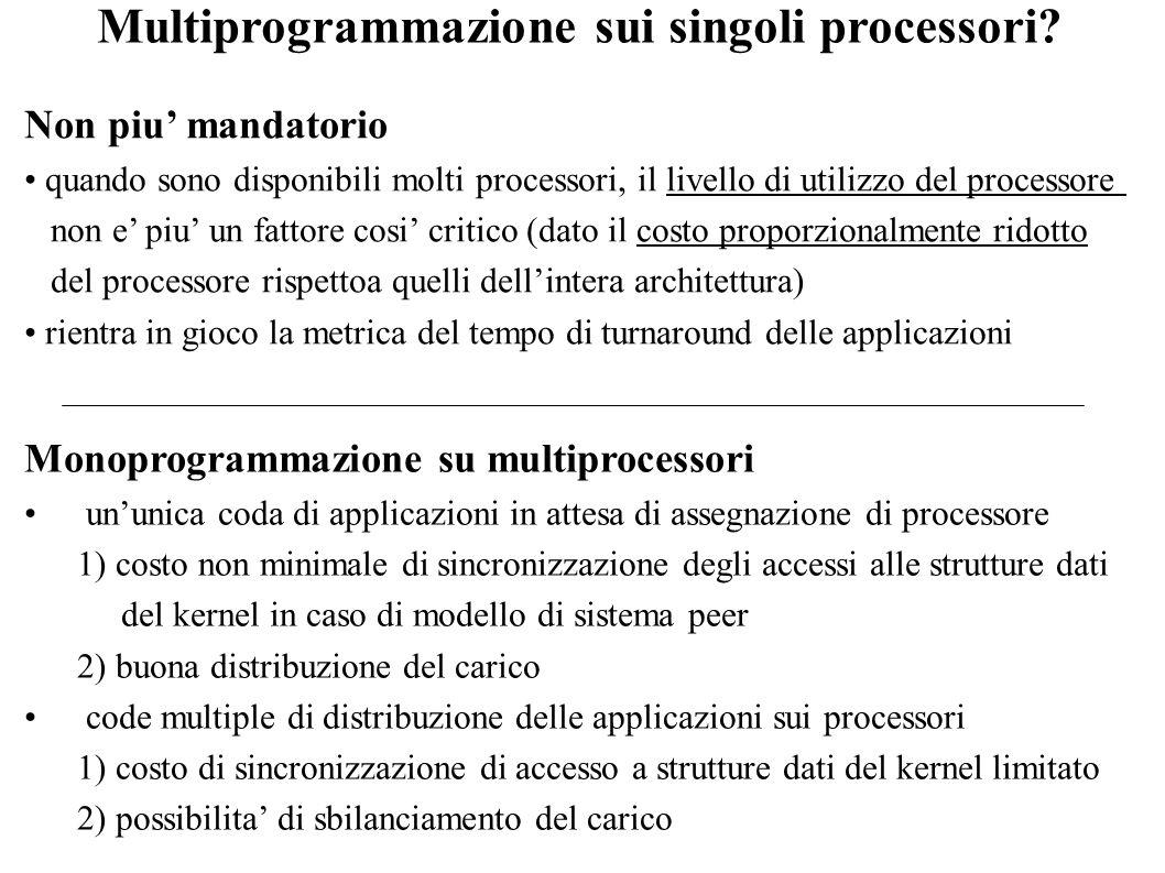 Multiprogrammazione sui singoli processori