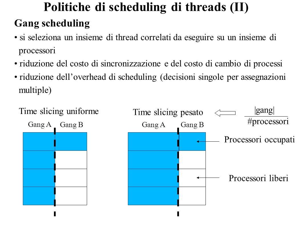 Politiche di scheduling di threads (II)