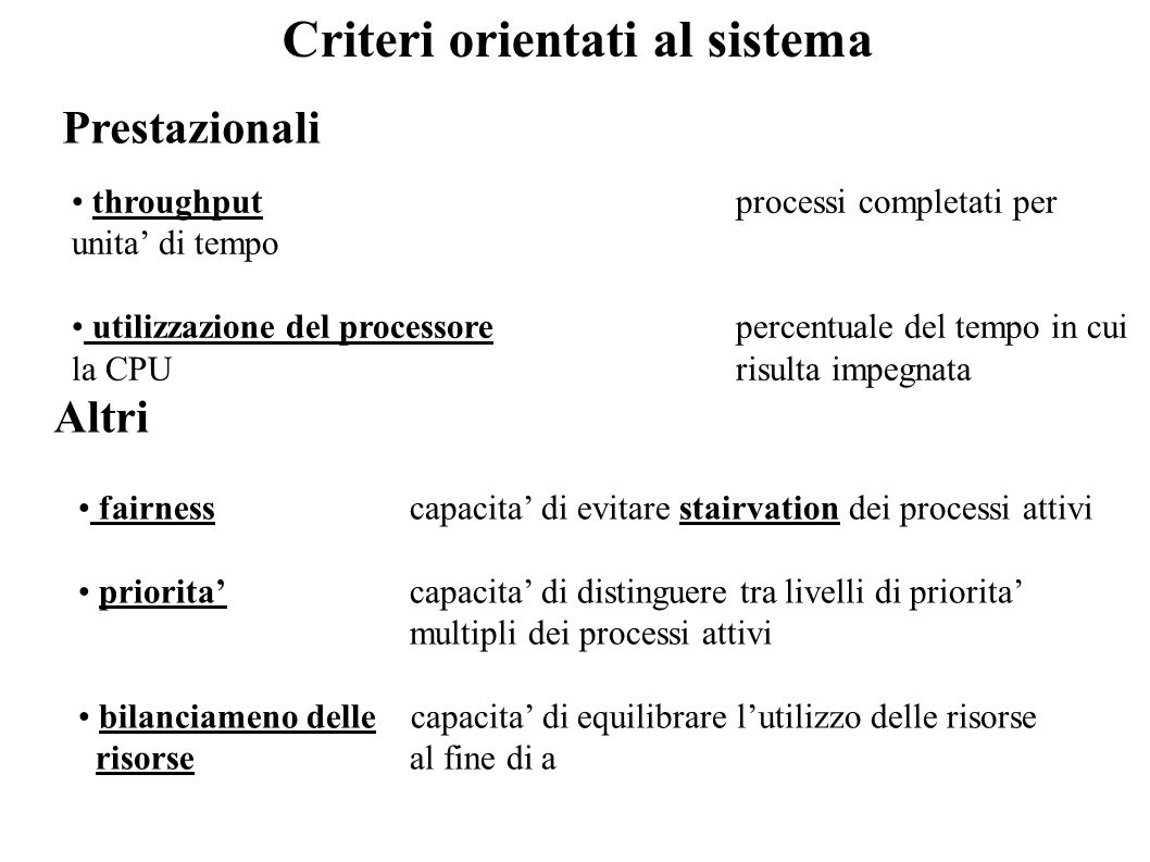 Criteri orientati al sistema