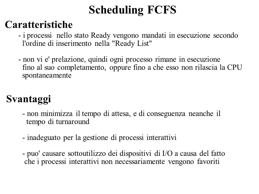 Scheduling FCFS Caratteristiche Svantaggi