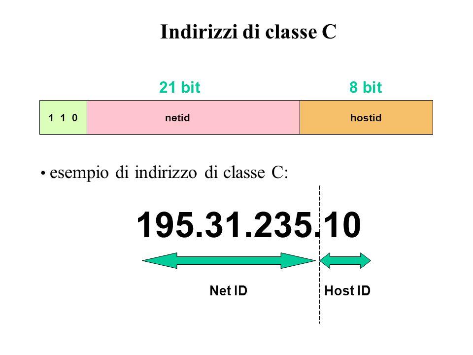 195.31.235.10 Indirizzi di classe C 21 bit 8 bit