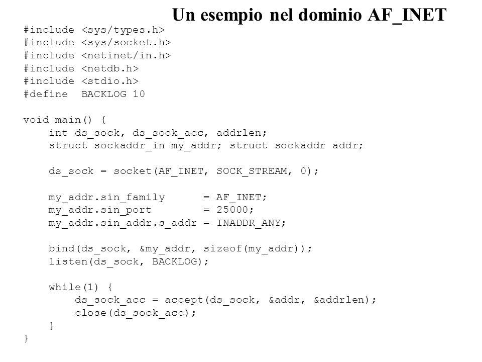 Un esempio nel dominio AF_INET